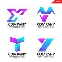 samling färgglada initial y brev logotyp formgivningsmall vektor