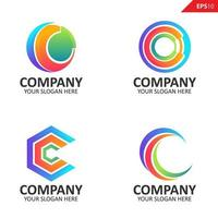 samling färgglada initial c brev logotyp formgivningsmall vektor