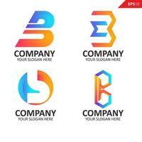 samling färgglada initial b brevlogotyp formgivningsmall
