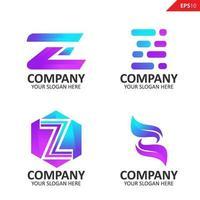 samling färgglada initiala z brev logotyp formgivningsmall vektor