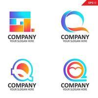 samling färgglada första q brev logotyp formgivningsmall