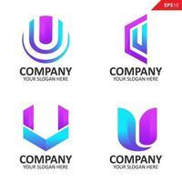 samling färgglada första u brev logotyp formgivningsmall