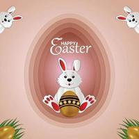 lyckligt påskhälsningskort med påskharen och påskägg