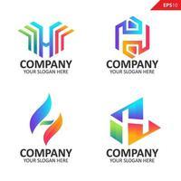 samling färgglada första h brev logotyp formgivningsmall