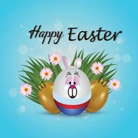 lycklig påskdag gratulationskort med färgglada påskägg vektor