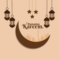 ramadan kareem eller eid mubarak platt bakgrund och lykta vektor