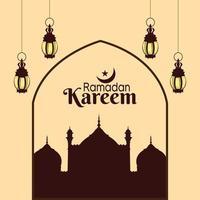 ramadan kareem eller eid mubarak platt designkoncept vektor