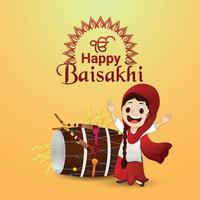 glückliches vaisakhi sikh Festival mit kreativer Illustration