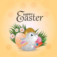 lycklig påskdag gratulationskort med färgglada påskägg