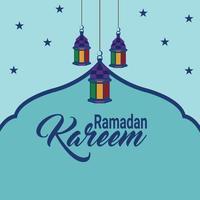 Ramadan Kareem oder Eid Mubarak flacher Hintergrund und Laterne vektor