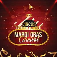 karneval Brasilien fest gratulationskort eller affisch med cirkustält hus vektor