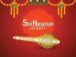 kreative Illustration von Lord Hanuman Waffe für Hanuman Jayanti