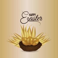 glad påskillustration med realistiskt gyllene ägg med boet vektor