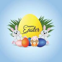 kreative Grußkarte des glücklichen Ostertages mit Osterhase und Ei vektor