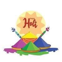 Happy Holi Flat Design-Konzept mit bunten Gulal und Colorgun