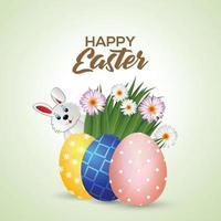 Ostertagsgrußkarte mit buntem bemaltem Ei und niedlichem Hasen