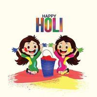 kreative Illustration der glücklichen Holi Festivalfeier