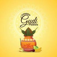 glad gudi padwa bakgrund med kreativ kalash och bambu vektor