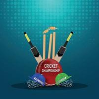 live-mästerskap med cricketutrustning och stadion vektor