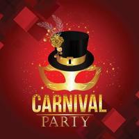 karneval gyllene mask på lila bakgrund vektor
