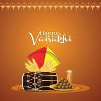 färgglada drakar och dhol för lycklig vaisakhi sikh festivalbakgrund