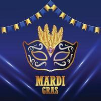 karneval händelse affisch eller gratulationskort på blå bakgrund