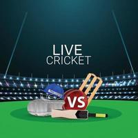 Live-Cricket-Meisterschaft mit Cricket-Ausrüstung und Stadionhintergrund vektor