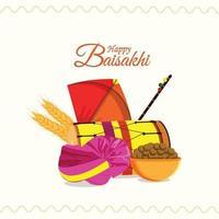 sikh festival glad vaisakhi gratulationskort och bakgrund med kreativa platta element vektor
