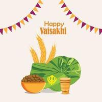 flaches Designkonzept von glücklichem Vaisakhi mit kreativer Illustration und Hintergrund vektor