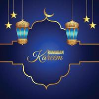 goldene Laterne und Mond von Ramadan Kareem vektor