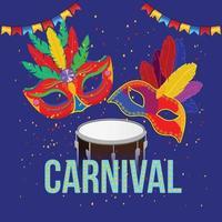 bunte Karnevalsmaske mit dtum und Hintergrund vektor