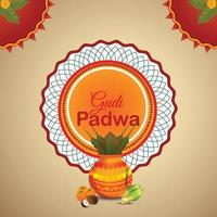 realistische Gudi Padwa und abstrakter Hintergrund mit Kalash