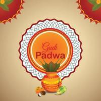 realistisk gudi padwa och abstrakt bakgrund med kalash vektor