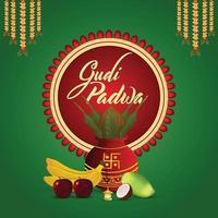 realistische Gudi Padwa traditionelle Kalash mit Früchten und Hintergrund