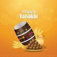 realistische Illustration der glücklichen Vaisakhi-Grußkarte und des Hintergrunds
