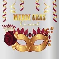 karneval gratulationskort med gyllene mask på lila bakgrund vektor