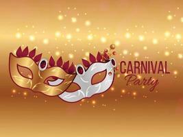 Karneval Party Banner mit glänzender goldener Maske vektor