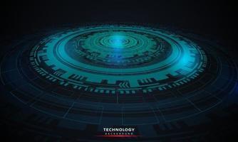 abstrakter Hintergrund der runden futuristischen Technologie mit hud Elementen kreisen digitale futuristische blaue Farbverlaufinnovation von Technologiekonzepten ein. vektor