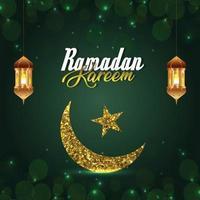 Islamisches Festival Ramadan Kareem mit goldener Laterne auf grünem Hintergrund vektor