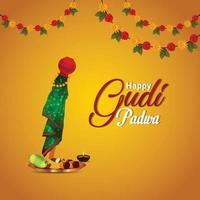 gudi padwa traditionell kalash med kreativ bakgrund vektor