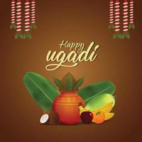glücklicher ugadi Feierhintergrund mit kreativem Kalash und Früchten