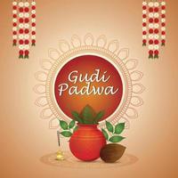 hapy gudi padwa feiergrußkarte mit kreativem kalash