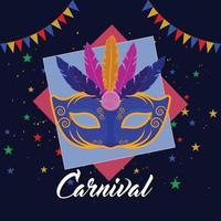 platt designkoncept av karneval händelse bakgrund med kreativ mask vektor