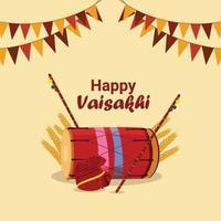 glückliches vaisakhi flaches Entwurfskonzept mit Vektorillustration und -hintergrund vektor