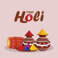 glad holi firande bakgrund med holi element och brasa