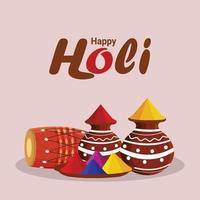Happy Holi Feier Hintergrund mit Holi Elementen und Lagerfeuer