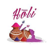 holi indian hindu Festivalhintergrund mit Farbschlammtopf