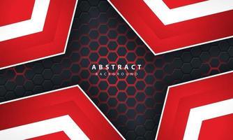 Sechseckiger Hintergrund des abstrakten roten Lichts 3d mit roten und weißen Rahmenformen.