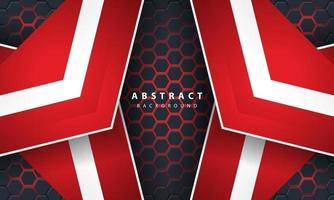 3d abstrakt rött ljus sexkantig bakgrund med röda och vita ramformer.