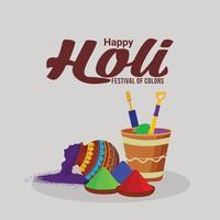 glad holi firande platt designkoncept med holi lera kruka färg